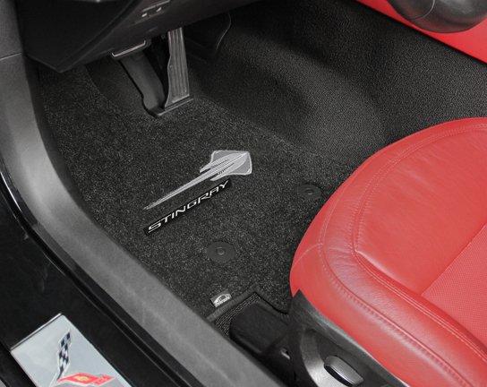 2014 Corvette Stingray logo mat, custom fit corvette logo mats