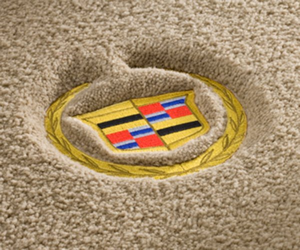 cadillac, carpet, crest, gold crest, luxe