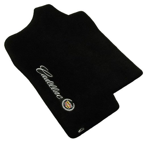 black, cadillac, carpet, crest, driver floor mat, sideways, sideways logo