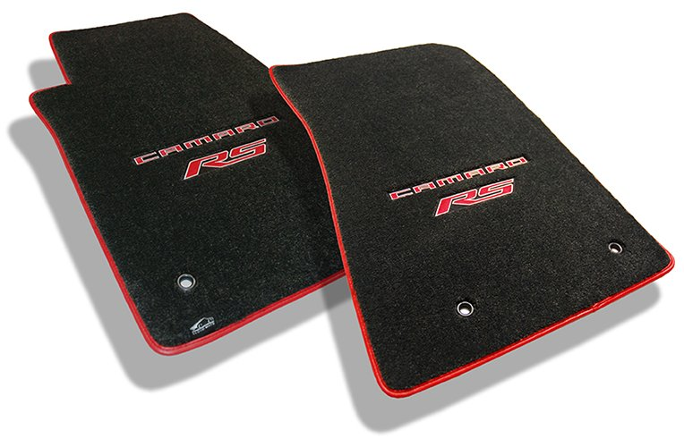 camaro, camaro ros, carpet mat, double applique, floor mat, red, red binding, rs