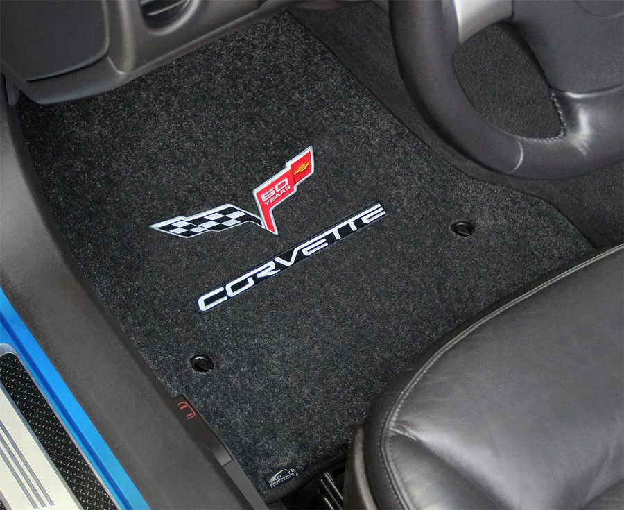 60th anniversary logo floor mats, custom fit corvette 60th anniversary floor mats