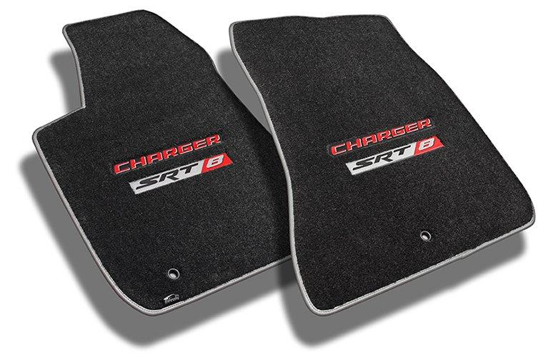 black ultimat, charger, charger srt 8, custom carpet floor mats, dodge, silver binding, srt, srt 8