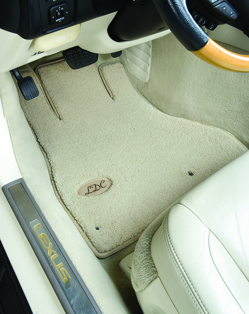 luxe, leather, initials, personalized, driver, carpet floor mat