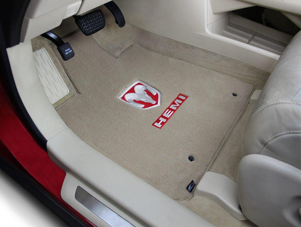 carpet floor mat, dodge, double applique, hemi, ram, red, velourtex